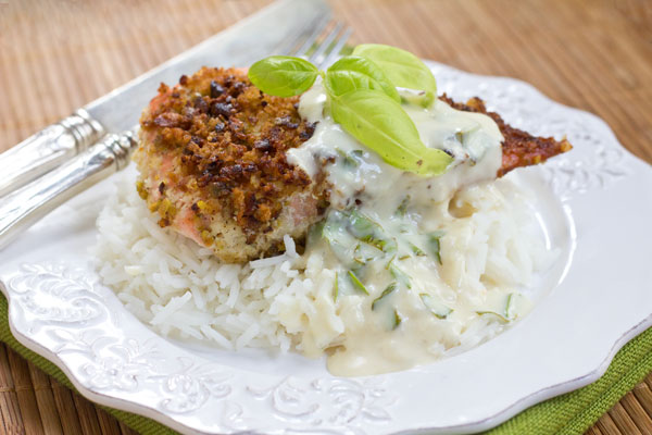 Pistachio crusted salmon with ginger lemon cream sauce for Pistachio crusted fish