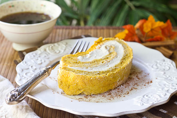 Pumpkin Roll Cake with Whipped Kahlua Cream Filling ...
