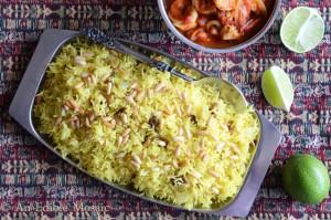 Saffron Rice with Golden Raisins and Pine Nuts