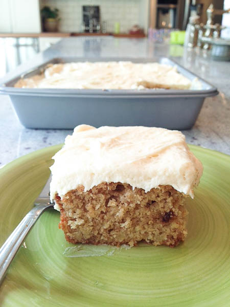 Chocolate Chip Banana Cake with Browned Butter Cream Cheese Frosting