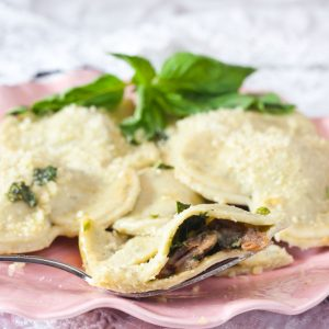 Prosciutto and Mushroom Ravioli with Basil Browned Butter Sauce