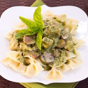 Pesto Pasta with Chicken Bacon and Mushrooms
