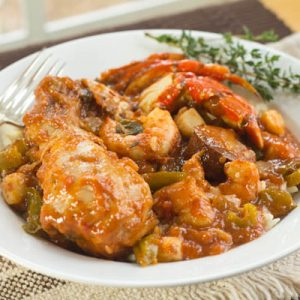 Chicken, Sausage & Seafood Loaded Jambalaya